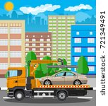tow truck takes car. parking is ... | Shutterstock .eps vector #721349491
