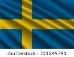 waving flag of sweden on silk... | Shutterstock .eps vector #721349791