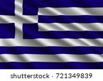 waving flag of greece on silk... | Shutterstock .eps vector #721349839
