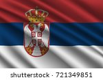 waving flag of serbia on silk... | Shutterstock .eps vector #721349851