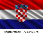 waving flag of croatia on silk... | Shutterstock .eps vector #721349875