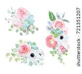 elegant bouquets of camellia ... | Shutterstock .eps vector #721351207