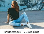 model wearing plain black t... | Shutterstock . vector #721361305