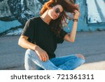 model wearing plain black t... | Shutterstock . vector #721361311