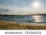 beautiful beach with bright... | Shutterstock . vector #721362121