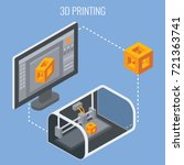 3d printing process concept... | Shutterstock .eps vector #721363741