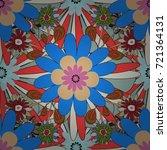 sketched vector flower print in ...   Shutterstock .eps vector #721364131