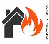 home fire disaster flat vector...   Shutterstock .eps vector #721364221