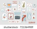 christmas advent calendar  cute ... | Shutterstock .eps vector #721364989