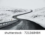 uphill road landscape in winter ... | Shutterstock . vector #721368484