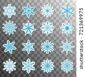 stickers snowflake icon set... | Shutterstock .eps vector #721369975