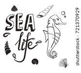 Sea Life Concept. Seahorse Wit...