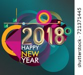 happy new year 2018 colorful... | Shutterstock .eps vector #721371445
