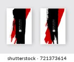 Stock vector black red ink brush stroke on white background japanese style vector illustration of grunge wave 721373614