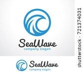 sea wave logo template design... | Shutterstock .eps vector #721374031