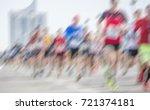 marathon runners background  | Shutterstock . vector #721374181