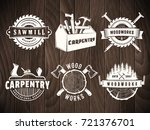 Woodwork Badges. Vector Logos...
