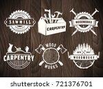 woodwork badges. vector logos... | Shutterstock .eps vector #721376701
