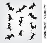 flying bats set for halloween.... | Shutterstock .eps vector #721381699
