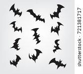 flying bats set for halloween.... | Shutterstock .eps vector #721381717