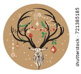 hand drawn deer with christmas... | Shutterstock .eps vector #721385185