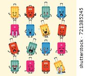 travel luggage character emoji... | Shutterstock .eps vector #721385245