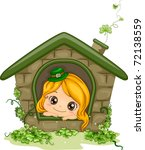 Illustration of a Girl Peeking from a Window - stock vector