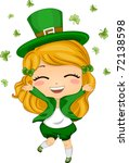 Illustration of a Girl Throwing Shamrocks in the Air - stock vector