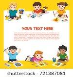 back to school. art kids.  cute ... | Shutterstock .eps vector #721387081