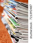 stack of colorful magazines | Shutterstock . vector #721392487
