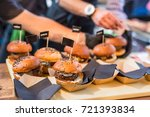 chef making beef burgers... | Shutterstock . vector #721393834