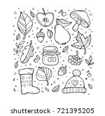 autumn pattern. harvest. fruit  ... | Shutterstock .eps vector #721395205