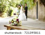 bouquet on wooden bench with... | Shutterstock . vector #721395811