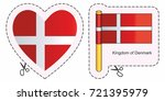 flag of denmark. vector cut... | Shutterstock .eps vector #721395979