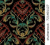 baroque floral embroidery... | Shutterstock .eps vector #721401127