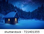 lonely wooden house on a meadow ... | Shutterstock . vector #721401355