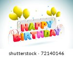 illustration of birthday card... | Shutterstock .eps vector #72140146