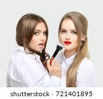 contouring.make up woman face....   Shutterstock . vector #721401895