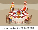 christmas family dinner party.... | Shutterstock .eps vector #721402234