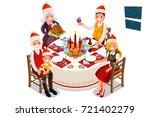 winter family dinner party... | Shutterstock .eps vector #721402279