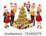 winter family christmas tree... | Shutterstock .eps vector #721402375