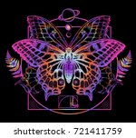 butterfly tattoo art. symbol of ... | Shutterstock .eps vector #721411759