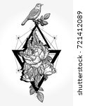 birds and rose  tattoo and t...   Shutterstock .eps vector #721412089