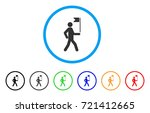 guide man with flag rounded... | Shutterstock .eps vector #721412665