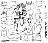 set of halloween speech bubbles ...   Shutterstock .eps vector #721413691