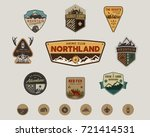travel badges collection. scout ... | Shutterstock .eps vector #721414531