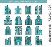 building and office tower icons | Shutterstock .eps vector #721414729
