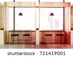 front view of a wooden cafe...   Shutterstock . vector #721419001
