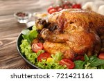 plate with roasted turkey and... | Shutterstock . vector #721421161