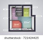 architectural color floor plan. ... | Shutterstock .eps vector #721424425
